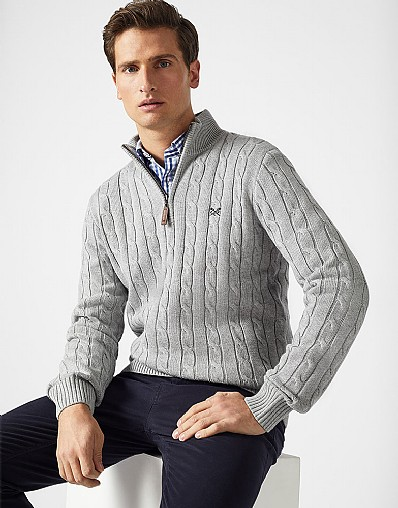 Half Zip Regatta Cable Jumper in Grey