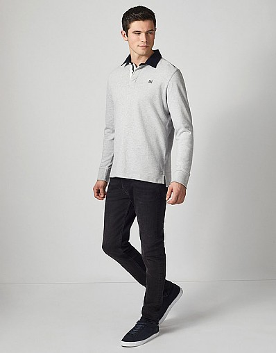 Crew Long Sleeve Rugby Shirt in Chalk Grey Marl