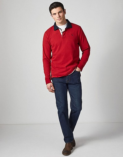 Crew Long Sleeve Rugby Shirt in Henley Red