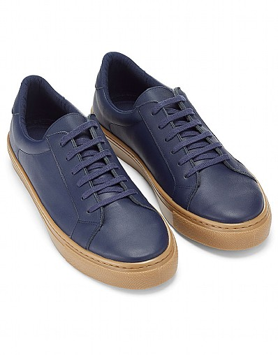 Leather Trainer in Navy