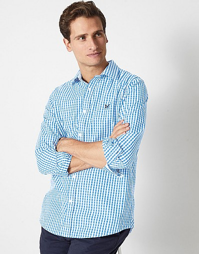 Crew Slim Fit Gingham Shirt In Sky Blue