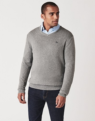 Foxley V Neck Jumper In Grey Marl