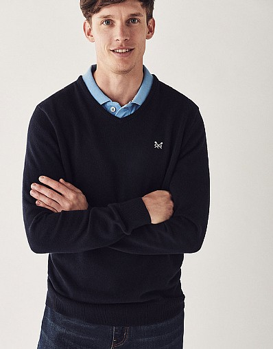Foxley V Neck Jumper In Navy