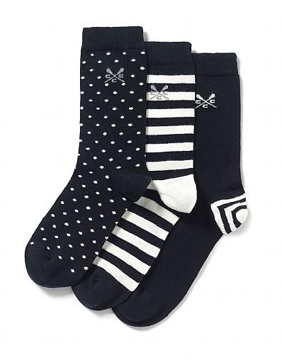 Stockists of 3 Pack Stripe Spot Socks