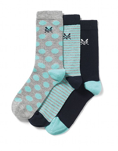 3 Pack Spot Stripe Sock