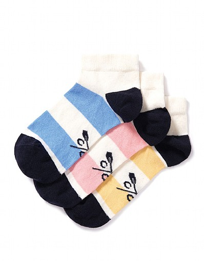 Stockists of 3 Pack Wide Stripe Trainer Socks