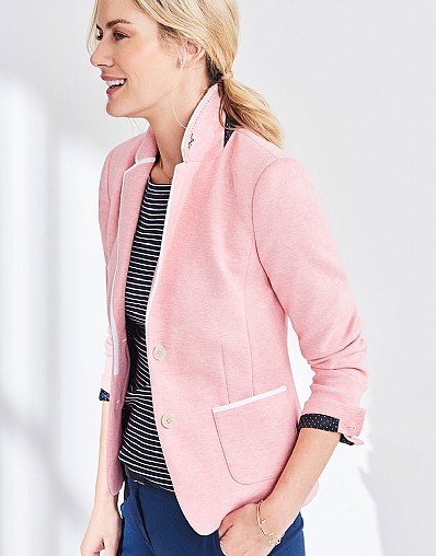 Jersey Piped Blazer In Dawn Pink