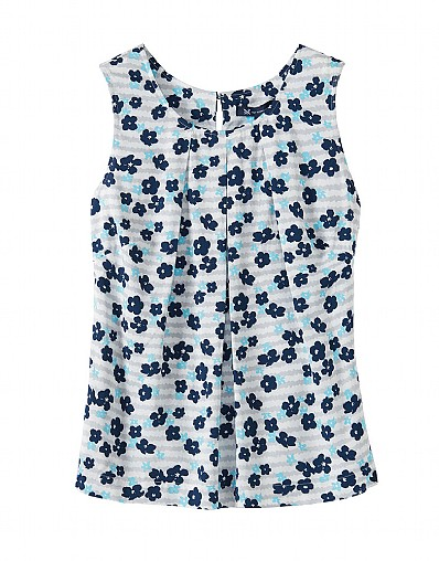 Orla Print Vest Top In Aqua Blue