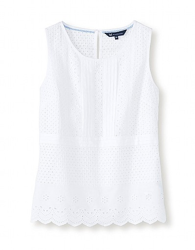 Broderie Shell Top In Optic White