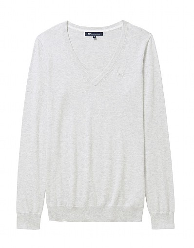 Foxy V Neck Jumper In Ice Grey Marl