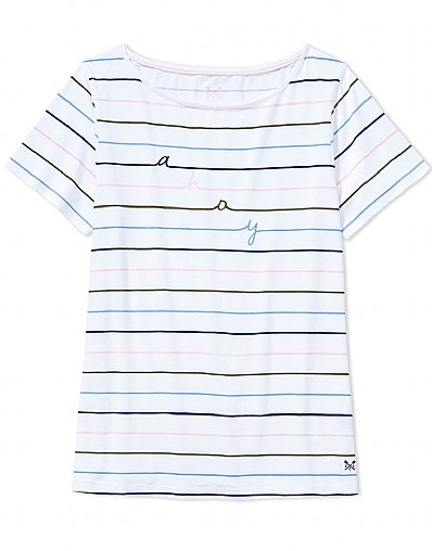 Summer Ahoy Boatneck T-Shirt In Optic White