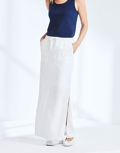 Bude Linen Maxi Skirt In Optic White