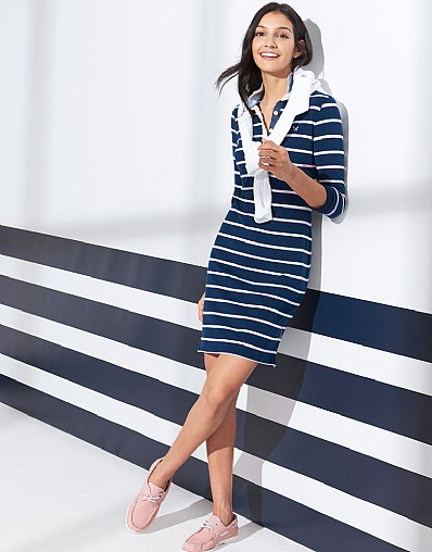 Rugby Stripe Dress In Pink
