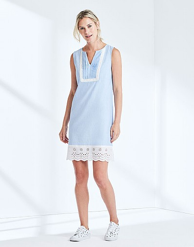 Broderie Dress In Chambray Blue