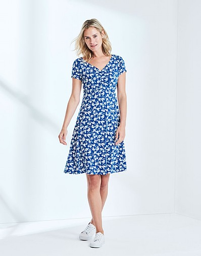 Printed Jersey Tea Dress In Ultramarine Blue