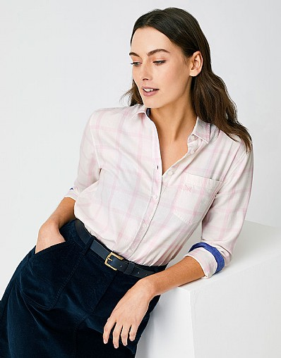 Weekend Flannel Shirt in White Pink