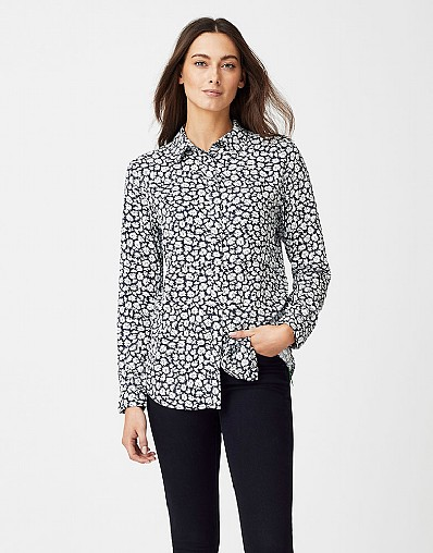Feather Print Shirt in Navy White