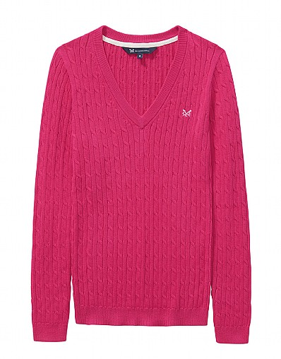 Heritage Cable Jumper in Fuschia