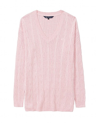 Harrogate Cable Jumper in Classic Pink Marl