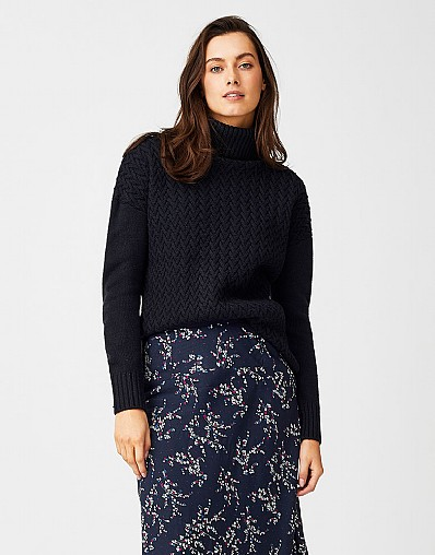 Roll Neck Jumper in Dark Navy