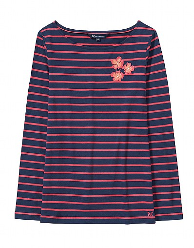Embroidered Breton T-Shirt in Navy