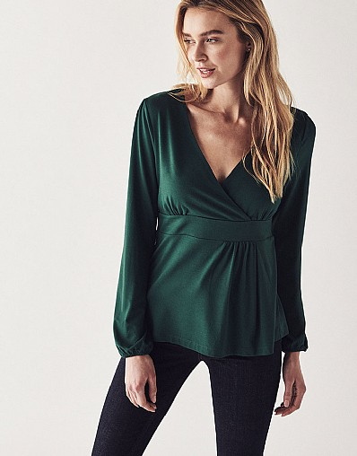 Long Sleeve Wrap Top in Green