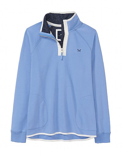 Half Zip Sweatshirt in Light Indigo Blue