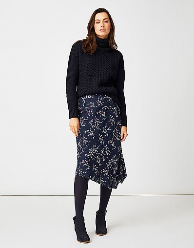 Asymmetric Hem Skirt in Navy