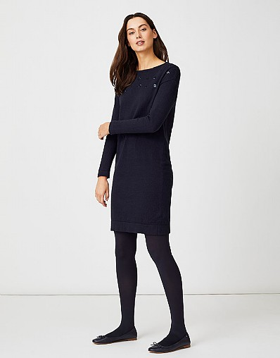 Sequin Knitted Dress in Dark Navy- Cashmere Blend