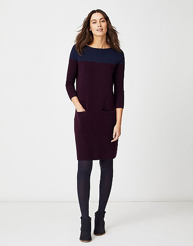 Colour Block Dress in Aubergine