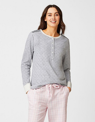 Henley Pyjama Top in Chalk Grey Marl