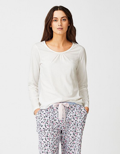 Ruched Pyjama Top in White Linen