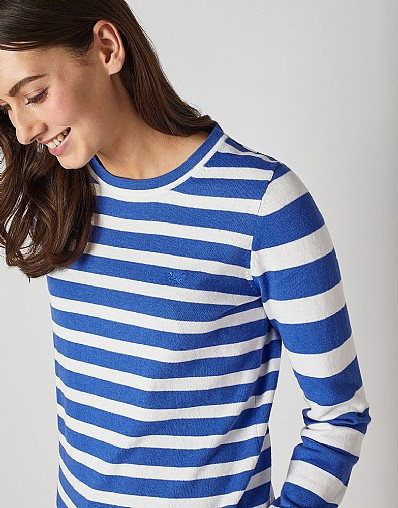 Foxy Crew Neck Jumper in Amparo Blue - Cashmere Blend