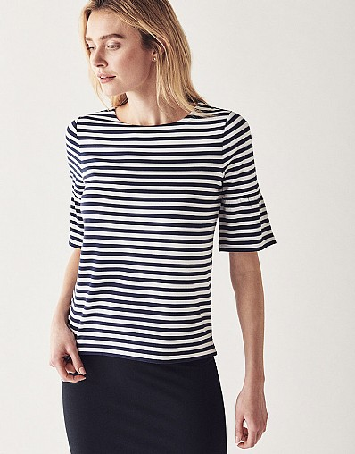 Jersey Bell Sleeve T-Shirt in Navy Stripe