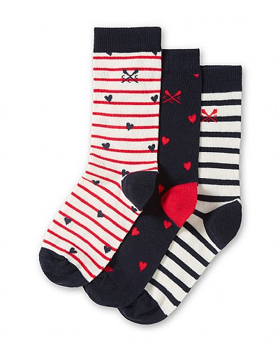 3 Pack Bamboo Socks in Heart Print