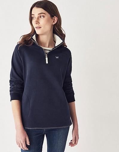 59800f37e7a Women s Half Zip Sweatshirt in Navy from Crew Clothing