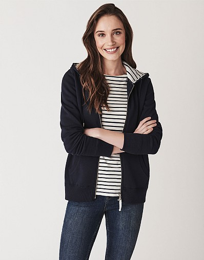 Zip Through Hoody In Navy