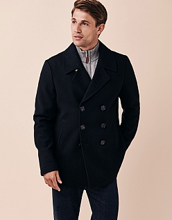 Reefer Wool Jacket In Dark Navy