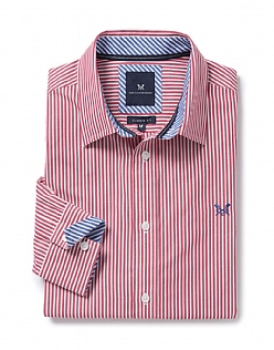 Crew Classic Fit Stripe Shirt In Claret Red