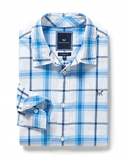 Bamburgh Classic Fit Check Shirt In Sky Blue