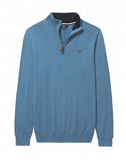 Classic Half Zip Knit In Heritage Blue Marl