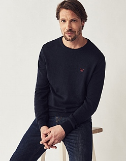 Foxley Crew Neck Jumper In Dark Navy