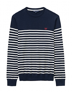 Milford Breton Crew Neck Jumper In Navy