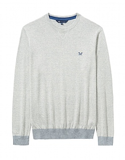 Westbrook Crew Neck Linen Mix Jumper In Ice Grey