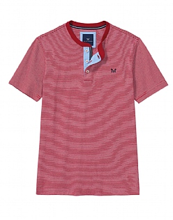 Harwood Henley T-Shirt In Classic Red
