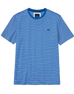 Fine Stripe T-Shirt In Marine Blue
