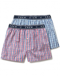 2 Pack Woven Check Boxers