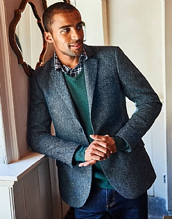 Ledbury Wool Blazer in Blue Herringbone