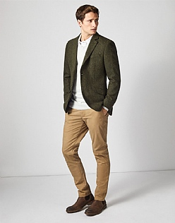 Ledbury Wool Blazer in Green Herringbone