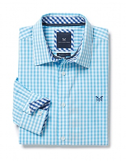 Crew Classic Fit Gingham Shirt in Topaz Blue